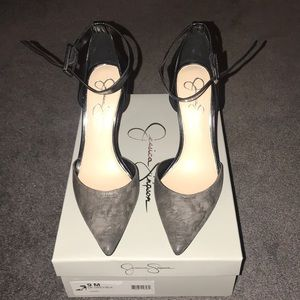 Never worn gray and black ankle strap pump
